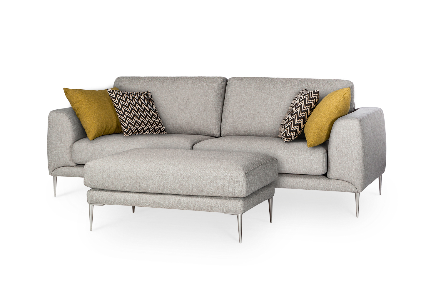 In picture Lorenzo 3 LC and Lorenzo Jumbo footstool; fabric: Solution 60; leg 15 Stainless Steel.
