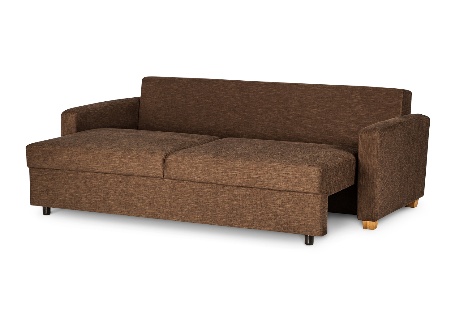 In picture Calibra 3 LC opened into the bed position. Fabric: Bronco 5201. Leg: 34, oak.