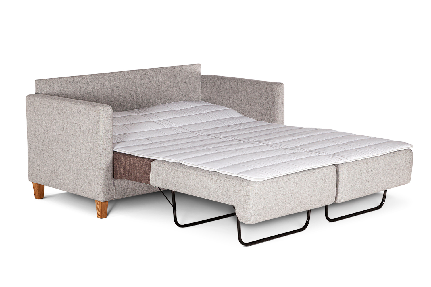 In picture: Nicole 2 opened into bed position. Fabric: Linea 16. Leg: 1, oak.