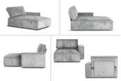 Boni Div with armrest. Fabric: Wave
