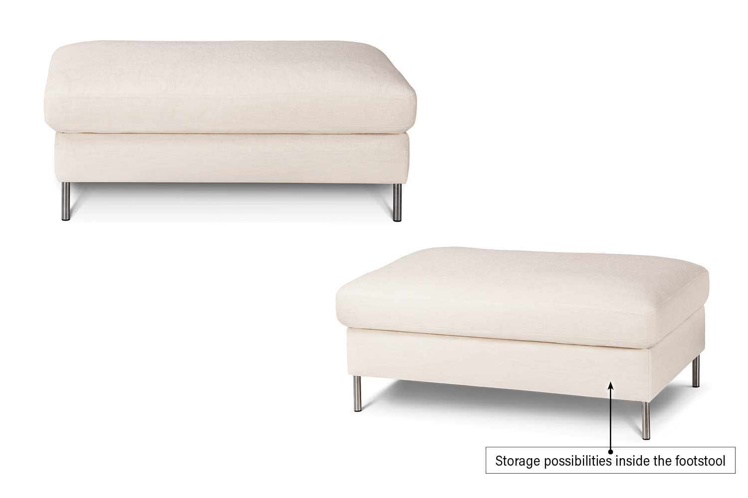 In picture: Colorado 4 footstool. Fabric: Bronco 5208. Leg 48, stainless steel.