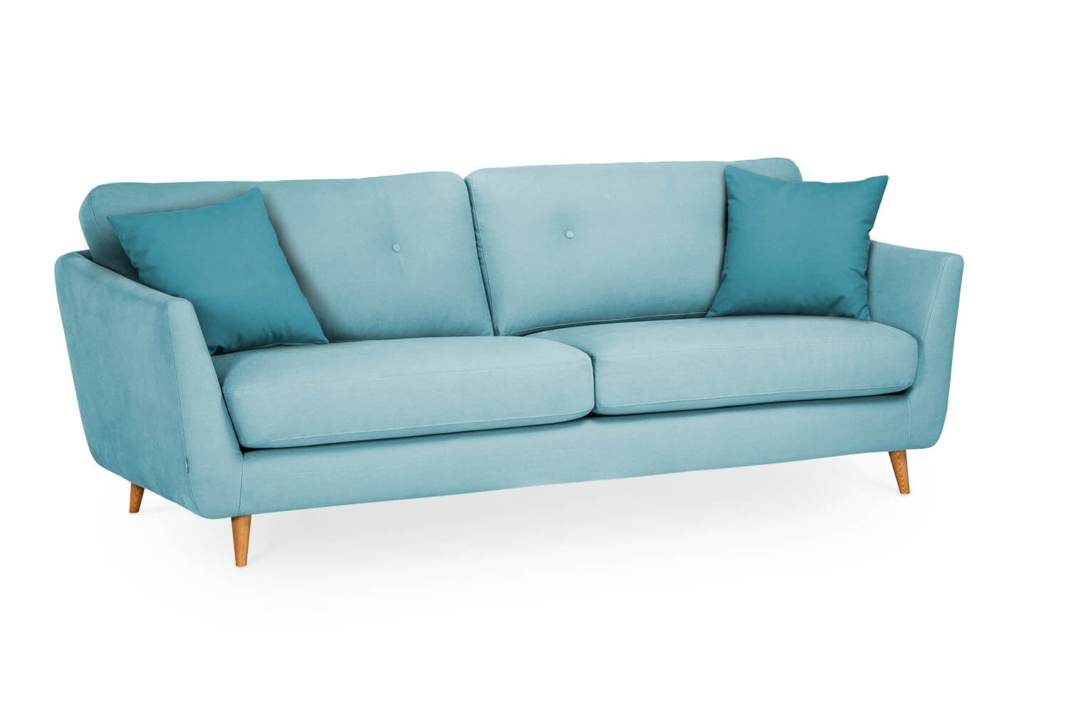 In picture: Blaze 3 LC with buttoned back cushions (optional). Fabric: Delta 5142. Leg: 50, oak.